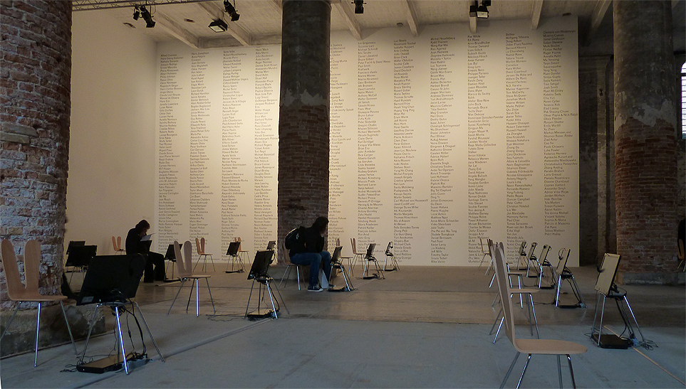"Hans Ulrich Obrist ""Now Interviews, Wall of Names, 2006 Serpentine 24-Hour Interview Marathon"""